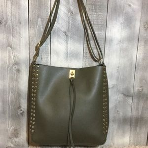 Vegan Leather Studded Tote Olive Green